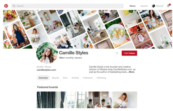 Pinterest profile page