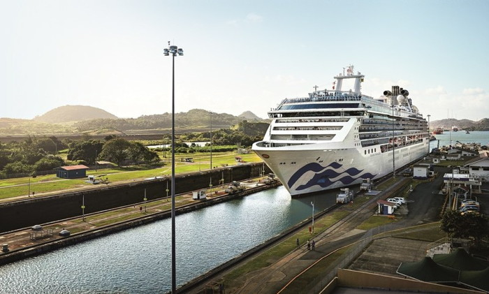 Princess Cruises ship in the Panama canal