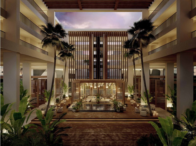 Rendering of the redesigned atrium planned for Mauna Lani, Auberge Resorts Collection