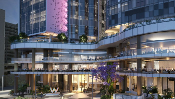 Rendering of the W Brisbane Hotel Exterior