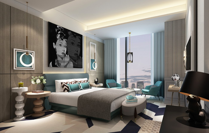 Rendering of a guestroom at the Radisson Ningbo Beilun Hotel