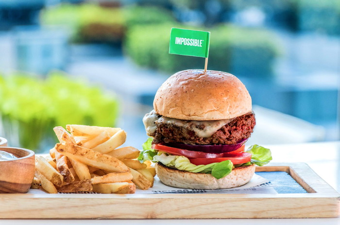 An Impossible Foods plant-based burger