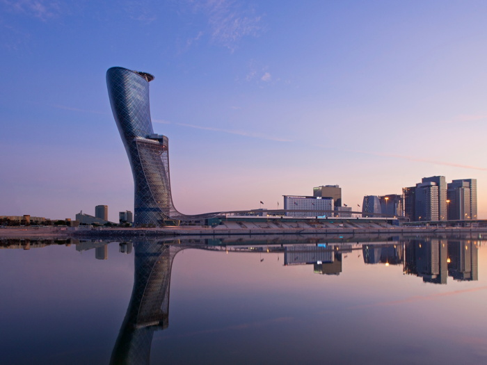 Exterior View of Andaz Capital Gate Abu Dhabi at Sunset