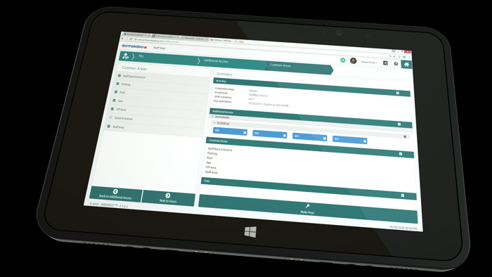 dormakaba Ambiance Software on Aava Tablet