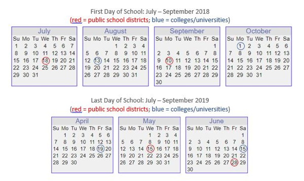Calendar - 2018-19 U.S. School Breaks
