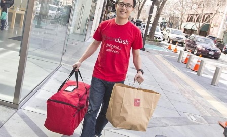 A dash food delivery person