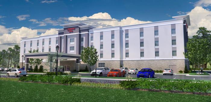 Rendering of the new Hampton Inn by Hilton Benson, North Carolina