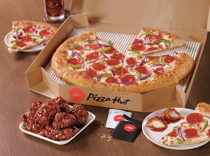 Various Pizza Hut products containing chicken