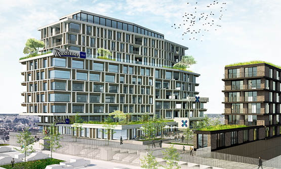 Rendering of the Radisson Blu Hotel Bruges