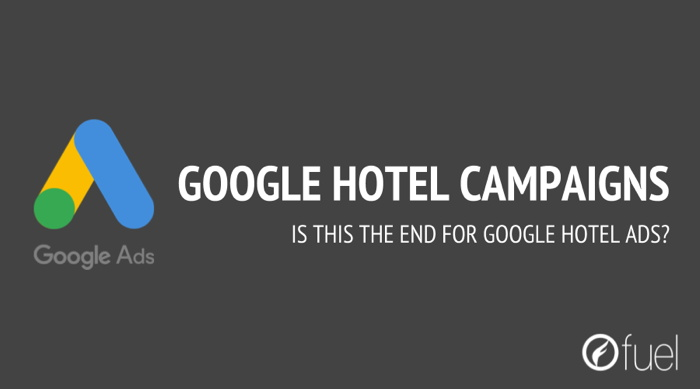 Image with the text - The End Of Google Hotel Ads
