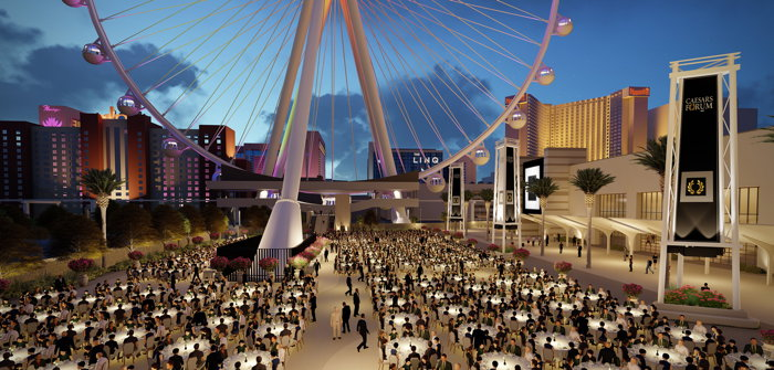 Exterior rendering of FORUM Plaza, a 100,000 square-foot outdoor meetings space at CAESARS FORUM