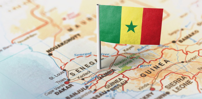 Flag of Senegal on a map - Source Horwath Hotel Industry Report - Senegal