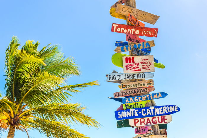 Directional signs on a wooden pole by the palm tree at Long Bay Beach - Photo by Deanna Ritchie on Unsplash