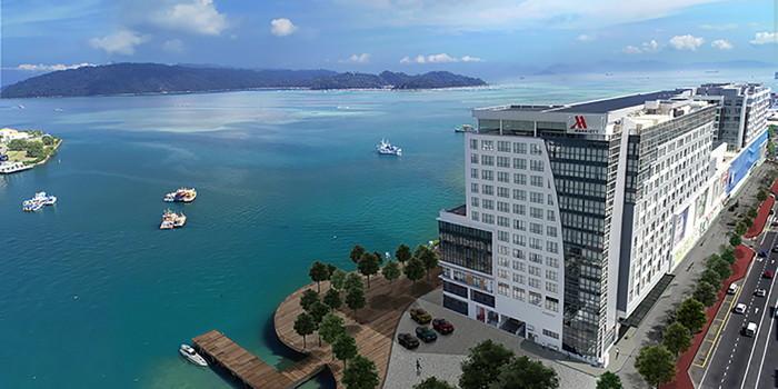 Kota Kinabalu Marriott Hotel in Sabah, Malaysia - Aerial view