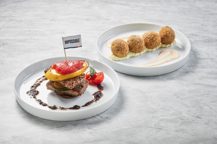 Chipotle Croquettes and Vegetable Millefeuille, featuring Impossible meat
