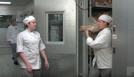 Employees in a kitchen