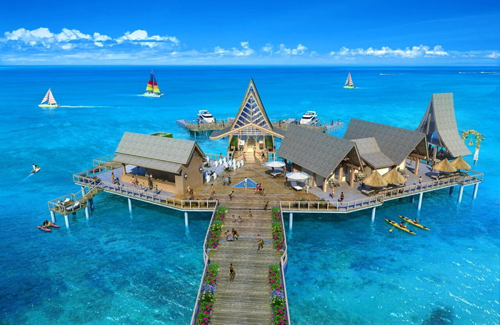 Rendering of Over-Water Villas at the Wyndham Palau Hotel