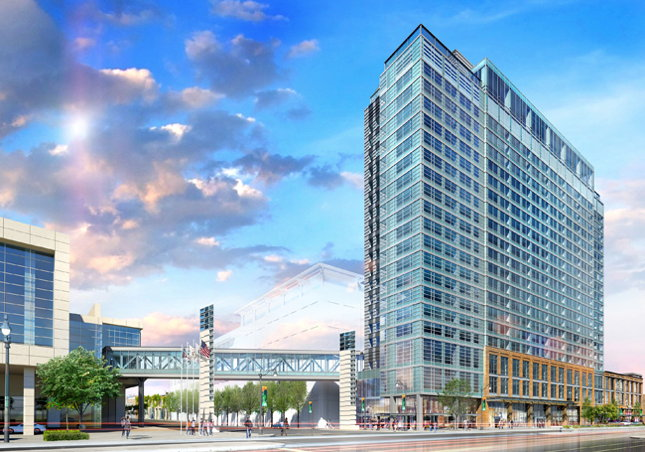Rendering of the Hilton Triple-Branded Hotel at Chicago's McCormick Place