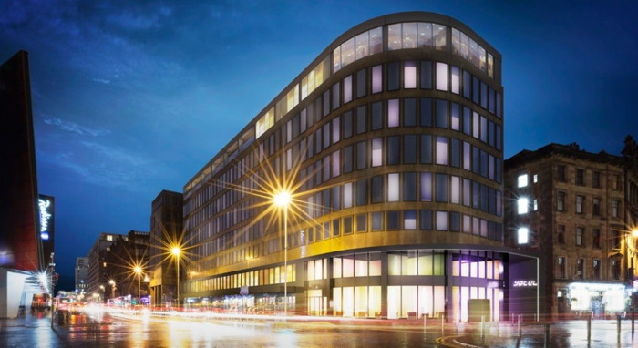 Rendering of the YOTEL Glasgow