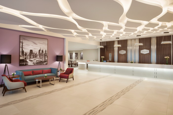 Lobby of the Hampton by Hilton Dubai Airport Hotel