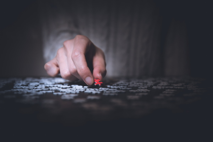 Person holding red jigsaw puzzle - Photo by Ryoji Iwata on Unsplash
