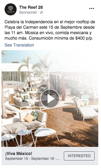 Social media ad from The Reefs in Mexico