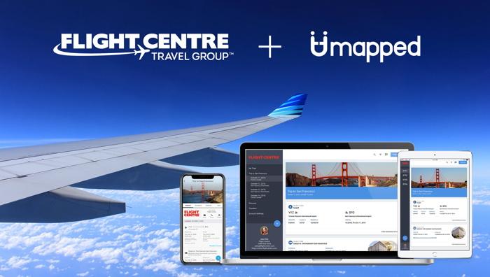 Umapped and Flight Centre Travel Group logos