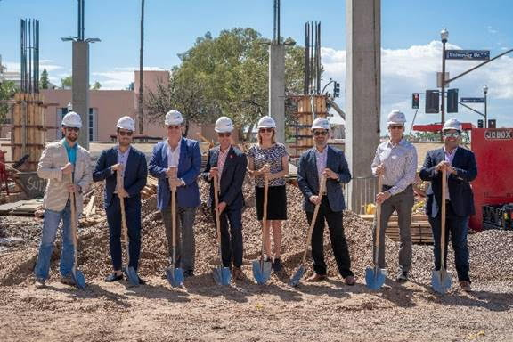 Officals at the Canopy by Hilton Tempe Downtown University Area ground breaking ceremony