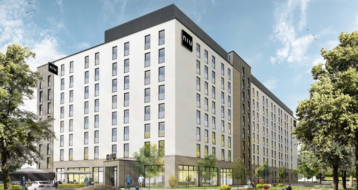 Rendering of the niu Air Frankfurt Hotel