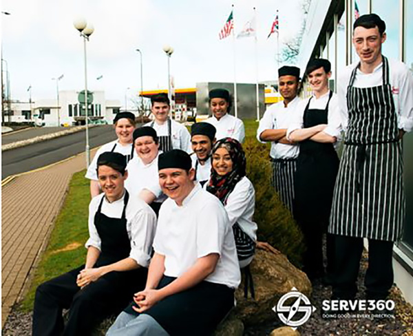 Marriott culinary apprentices taking a break during a training workship at the Heathrow Marriott