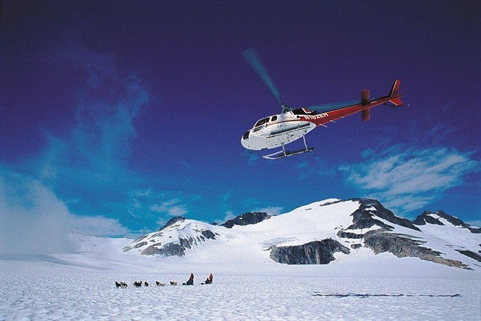 A helicopter above a dog sled in Alaska