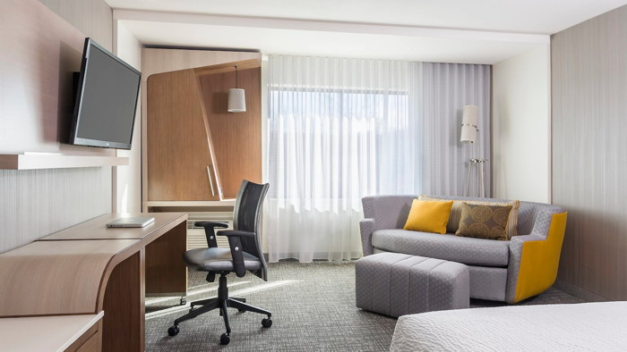 A Courtyard by Marriott guestroom