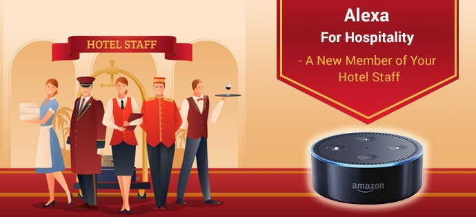 Illustration - hotel staff concept with Alexa