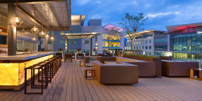 Exterior view of the terrace at the Marriott AC Escazú. Costa Rica
