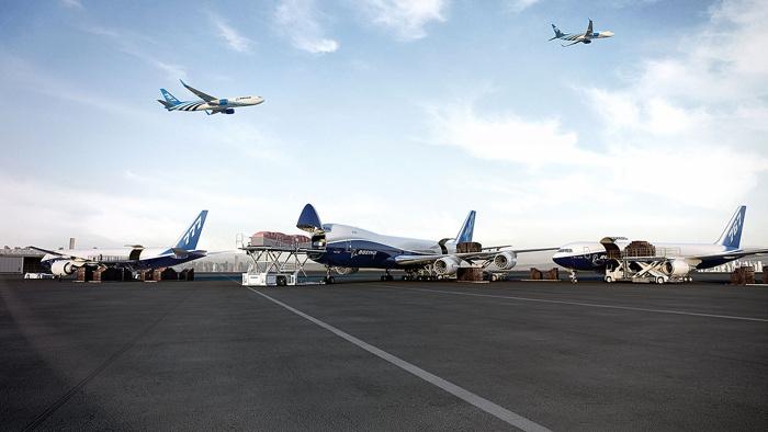 A Boeing cargo plane