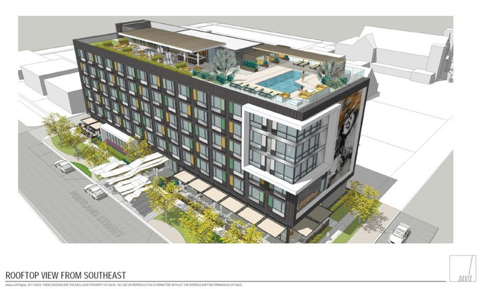 Rendering of the Cambria Hotel in Downtown Phoenix in the Roosevelt Row Arts District