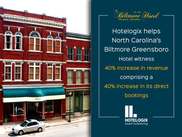 Biltmore Greensboro Hotel exterior and Hotelogix logo