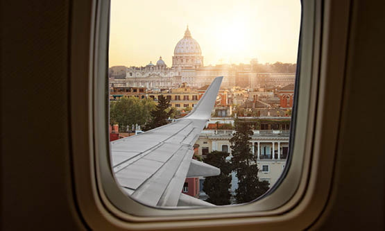 View of Rome through an airplane window