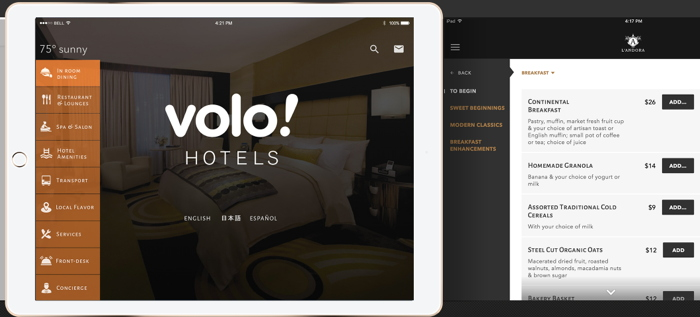 Screenshot Volo in-room tablet