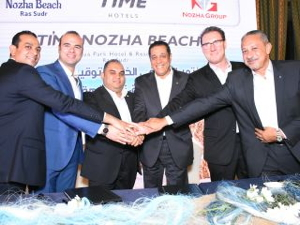 (from left to right): Mahmoud El-Naggar, Sales & Marketing Manager, Nozha Beach; Amr Yasin, Managing Director, Nozha Beach; Abdallah Elmaghrabi, CEO, Nozha Group; Mohamed Awadalla, CEO, TIME Hotels; Richard McGrath, CFO, TIME Hotels and Emad Farid, Vice President - Operations, TIME Hotels Egypt.