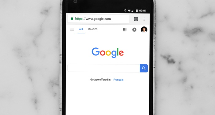 Android smartphone showing google site - Photo by Charles Deluvio on Unsplash