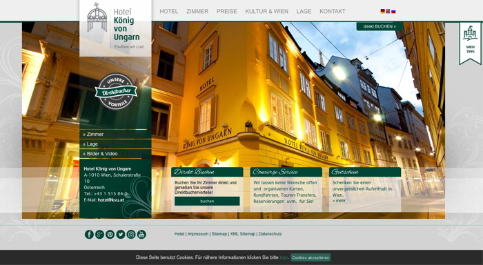 Screenshot Hotel Koning Von Ungarn website