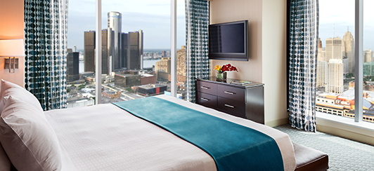 Guestroom at the Greektown Casino-Hotel in Detroit