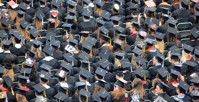 Aerial view of graduates wearing hats - Photo by Good Free Photos on Unsplash