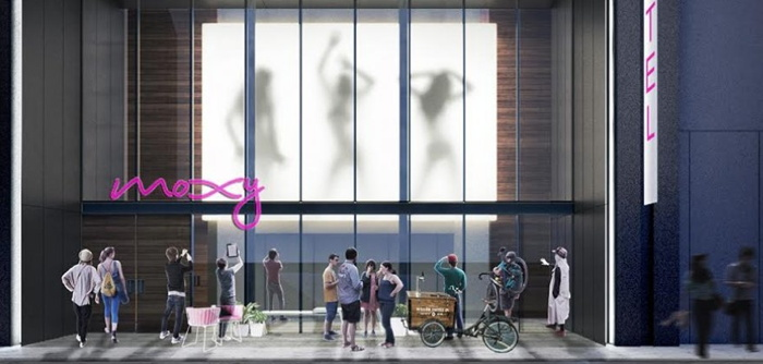 Rendering of the Moxy NYC Downtown Hotel entrance