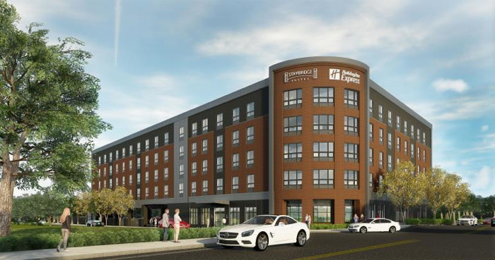 Rendering of the New Dual-Branded Staybridge Suites and Holiday Inn Express in Quincy, Massachusetts