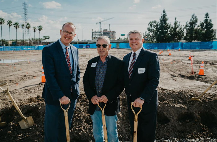 From left to right, Tom Tait, Anaheim Mayor; Walter C. Bowen, president/CEO, BPM Real Estate Group; Ken Greene, president, Americas, Radisson Hotel Group.