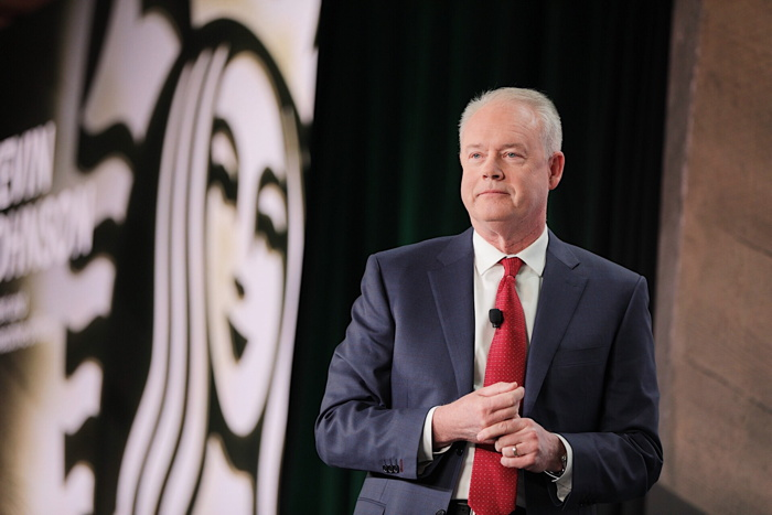 Starbucks president and chief executive officer, Kevin Johnson