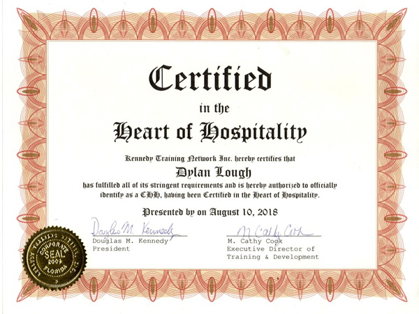 A 'Certified in the Heart of Hospitality' certificate