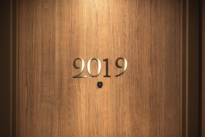 A door with the number 2019
